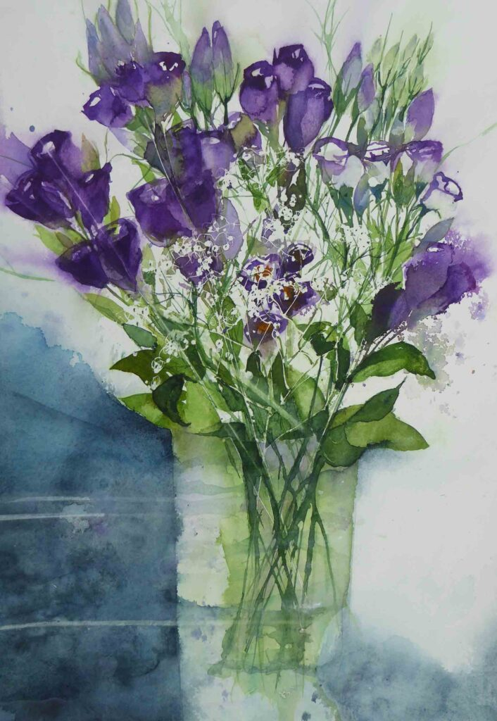 Lisianthus-and-Gypsophila--by-Carol-Whitehouse--SOLD