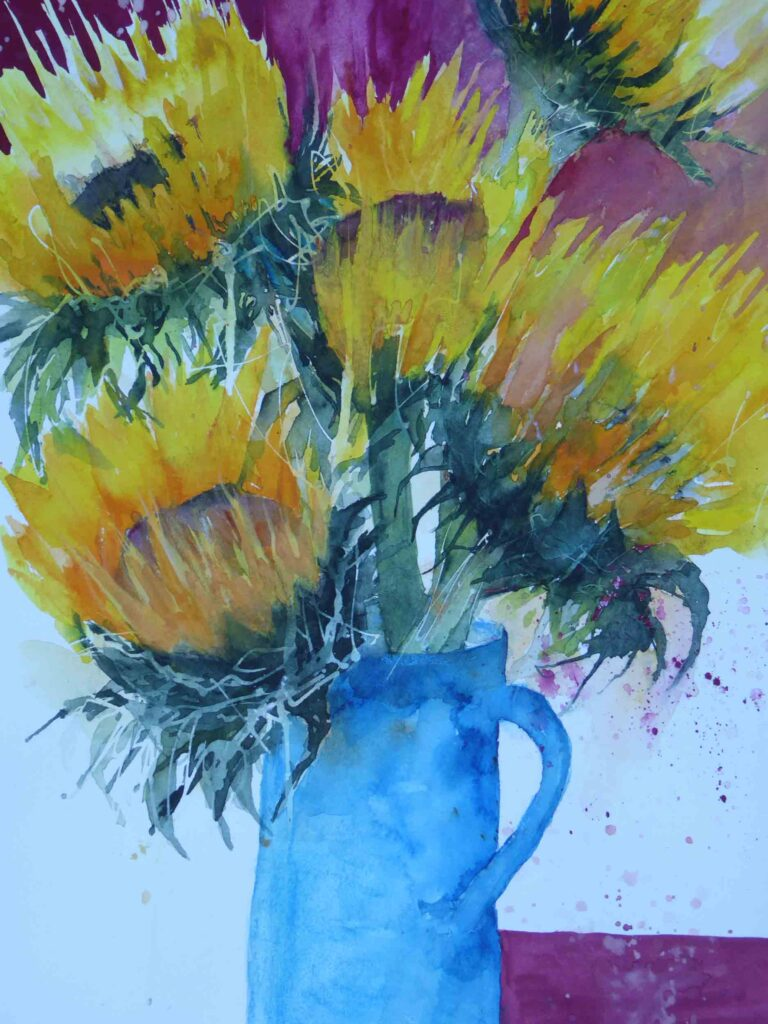 Sunflowers-in-a-Turquoise-Jug--by-Carol-Whitehouse--SOLD