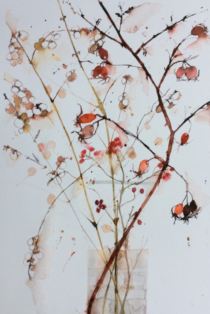 Snow Berries and Rosehips by Carol Whitehouse