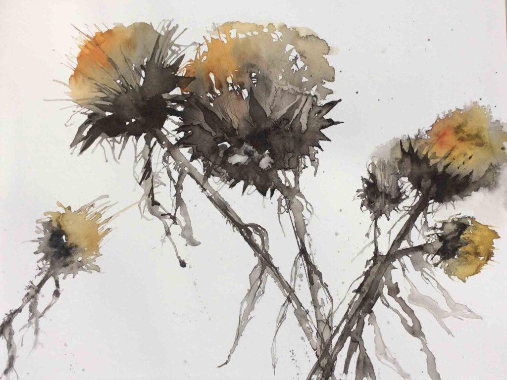 Artichoke-Seed-Heads-greetings-card-by-Carol-Whitehouse