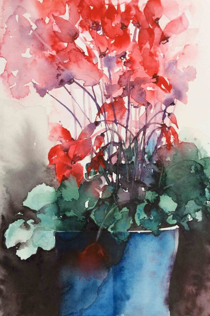Red-Cyclamen-greetings-card-by-Carol-Whitehouse