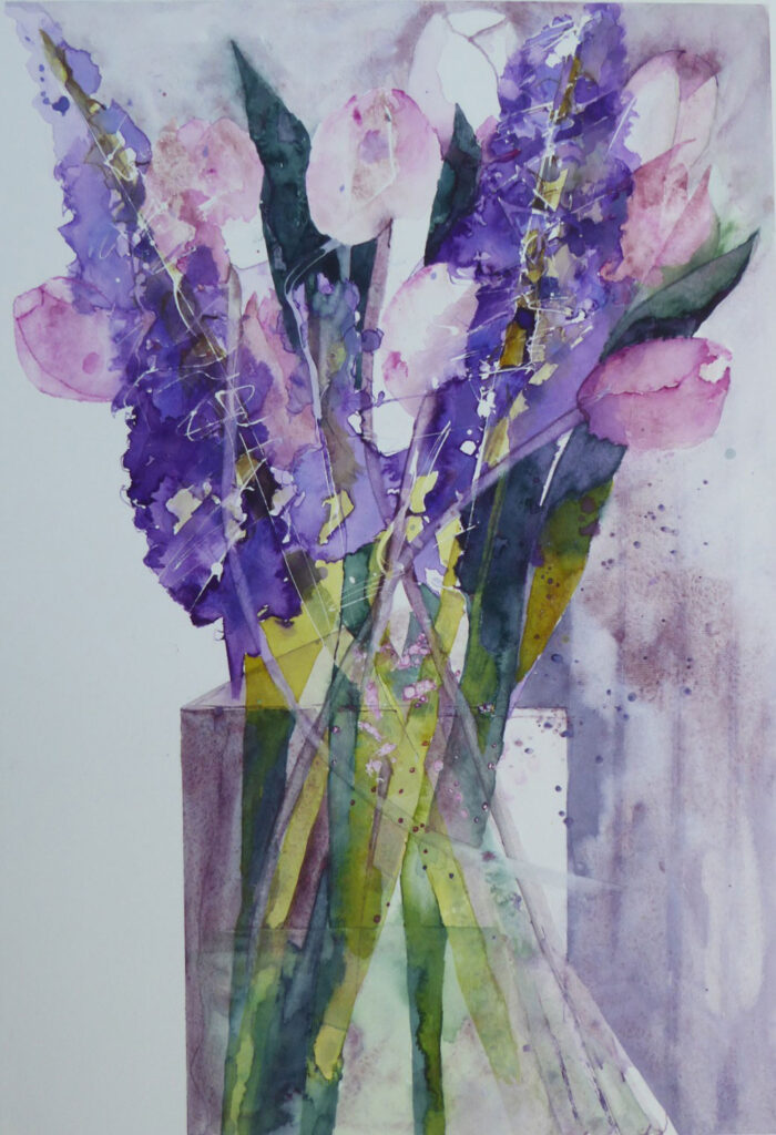 Hyacinths-and-Pink-Tulips-greetings-card-by-Carol-Whitehouse