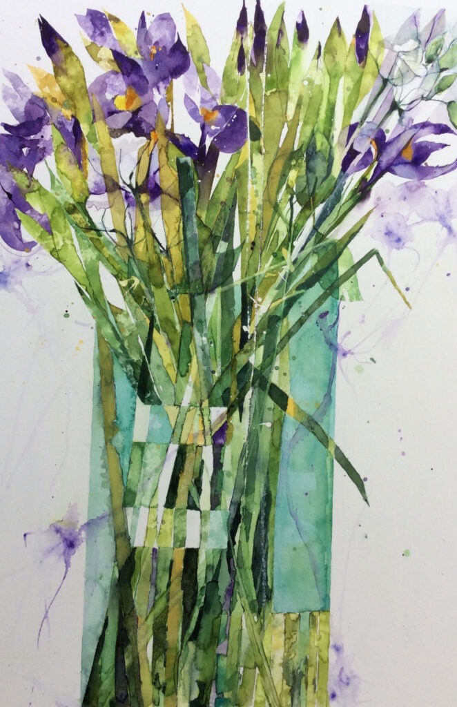 Irises-in-a-Turquoise-Vase-by-Carol-Whitehouse